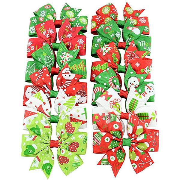 Christmas Hair Clips.Christmas Hair Bows Clips Grosgrain Ribbon Hair Accessories Alligator Clips