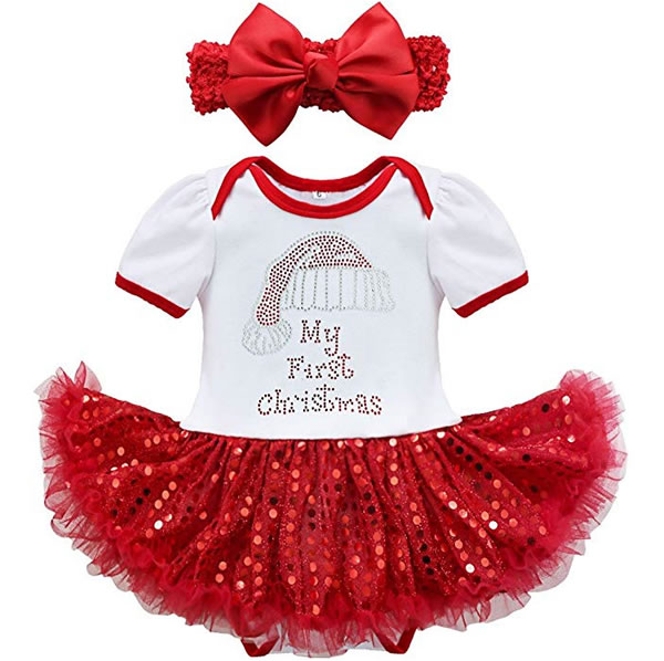 My First Christmas.My First Christmas Outfit Costumes Romper Tutu Dress With Headband Set