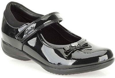 Clarks Girls Black Patent Leather
